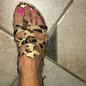 Ann Taylor Loft Leopard Pony hair Sandals 8